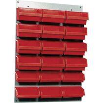 Fali csavartartó szortimenter, falra rögzíthető műanyag fiókos tároló, 18 fiókos 60 cm x 40 cm piros Küpper 13072