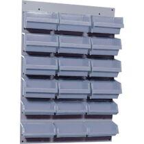 Fali csavartartó szortimenter, falra rögzíthető műanyag fiókos tároló, 18 fiókos 60 cm x 40 cm szürke Küpper 13077