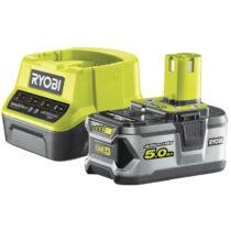 Ryobi RC18120-150 18V, 5.0Ah lithium+ akku és kompakt töltő